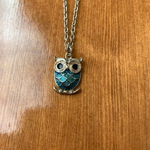 Blue and Gold Owl Necklace